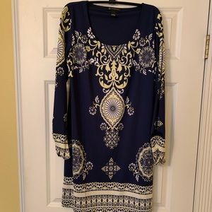 Scarf print long sleeve dress